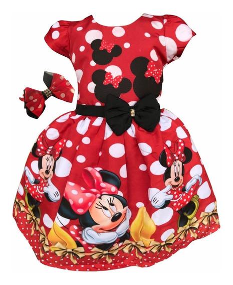 Vestido Minnie Vermelha Vermelho Luxo + Tiara Brinde