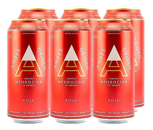 Imagen 1 de 10 de Andes Origen Roja . Cerveza . 473ml X 6 - Tomate Algo® -