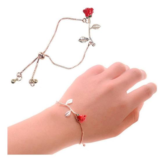 Pulsera Brazalete De Rosa Ajustable Para Mujer M0067
