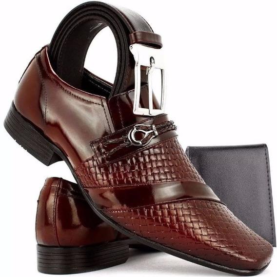 Sapato Masculino Social Envernizado Kit Cinto + Carteira Azu