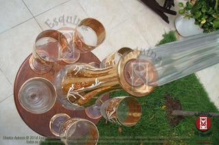 Linda Garrafa E Taças Decoração Dourada Veneziana Antigas