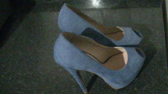 Salto Alto Peep Toe Azul Numero 36