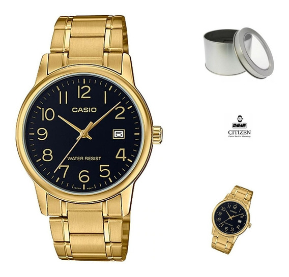 Reloj Casio Mtpv002 G1b Hombre Dorado Negro Fechador *watchsalas*