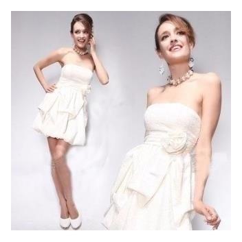 Hermoso Vestido Corto Strapless De Encaje 3xl