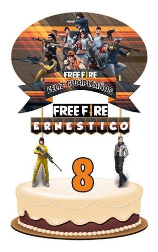 Imagen 1 de 6 de Free Fire Cake Topper Adorno Para Tortas Personalizado
