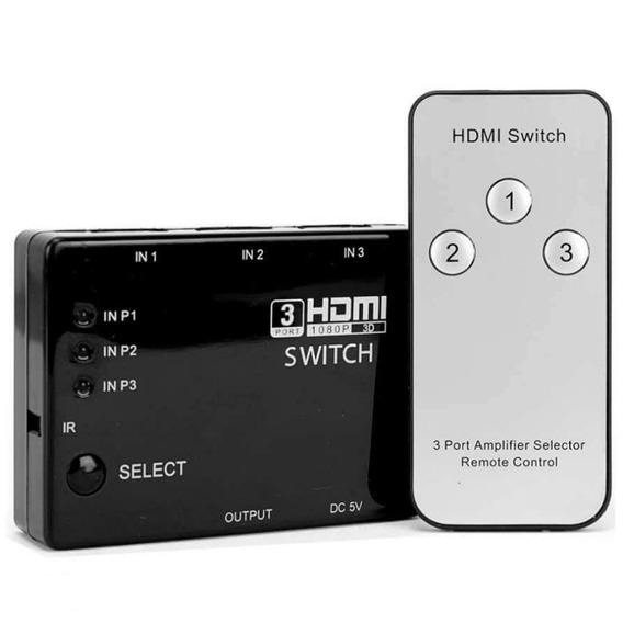 Adaptador Hub Switch Hdmi 3x1 C/ Controle Remoto Divisor