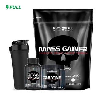 Mass Gainer 3kg + Bcaa + Creatina + Shaker - Black Skull