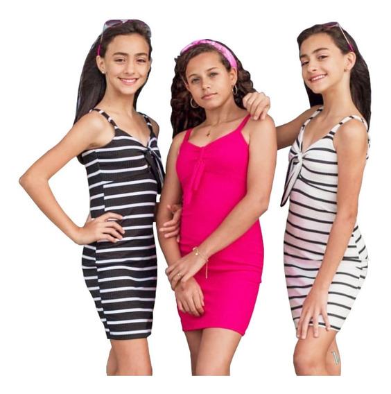 Roupas Infantil Menina Vestido Amarra No Peito Kit 3 Peças