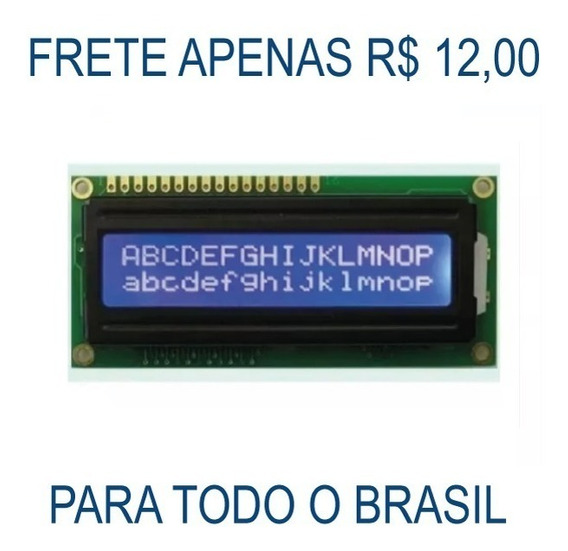 Display Lcd 16x2 1602 Com Back Azul Pic Atmel Arduino