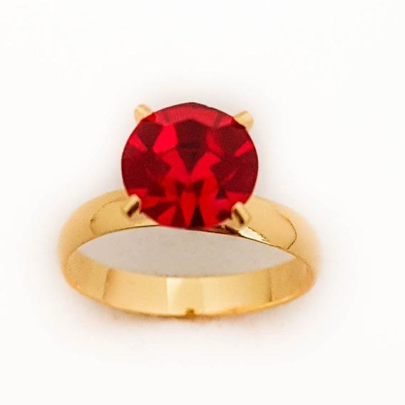 Anel Feminino Solitário Pedra Vermelha Folheado Ouro. A153