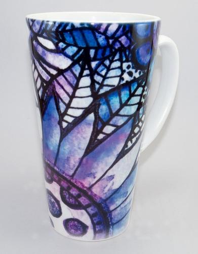 Tazón Conico Flores Azules