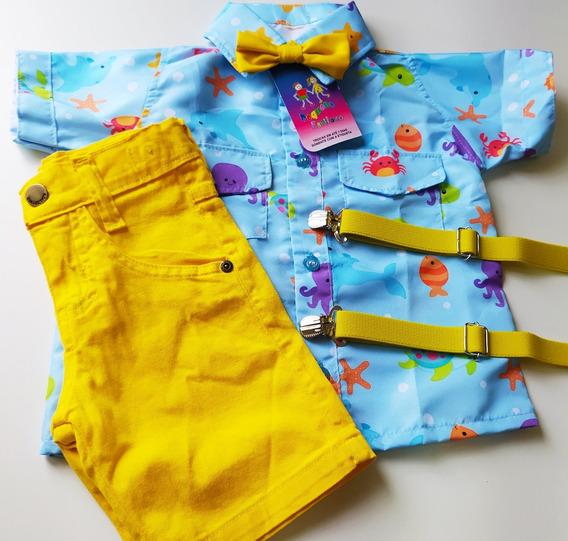 Conjunto Temático Fundo Do Mar Luxo Azul E Amarelo