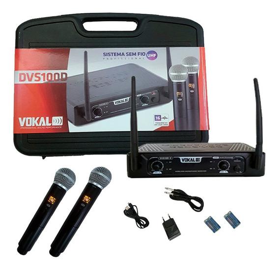Microfone Sem Fio Profissional Duplo Vokal Dvs100dm Promoção