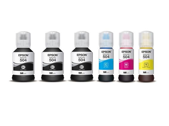 Kit 6 Refil Tinta Epson T504 L6161 L4150 L4160 L6191 L6171