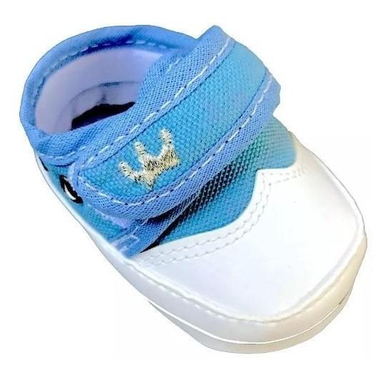 Sapato Tênis Infantil Bebê Menino Coroa Azul Tiras Aderentes C Zito