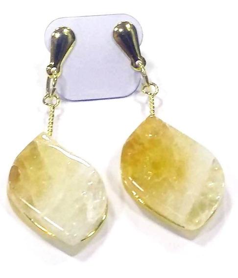 Brinco Pedra Citrino Folheado Ouro Cristal Da Prosperidade