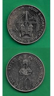 Grr-moneda De India 10 Rupees 1976 - Series F. A. O.