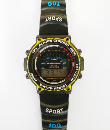 Raro Relógio De Pulso Cosmos Cronógrafo Digital