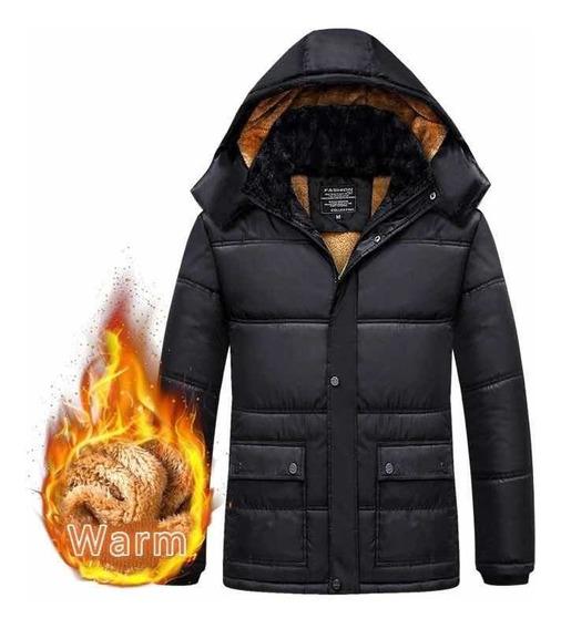 Jaqueta Casaco De Lã Quente Com Capuz Casuais