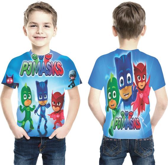 Camiseta Fantasia Pj Masks Menino Gato Lagartixo Infantil