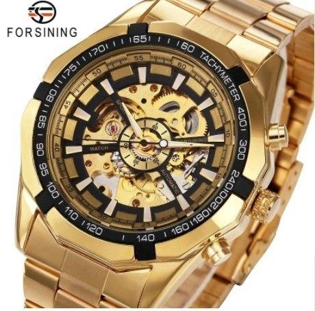 Relógio Automático Winner De Luxo Cor Dourado Importado