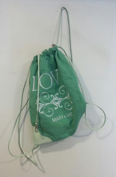 Mochila De Tela Mara & Me Verde Love Escrito En Blanco