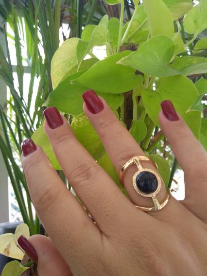 Maravilhoso Maxi Anel Feminino Biju De Luxo Aro 19 Verona Pedra Negra / Fashion / Moda Blogueira