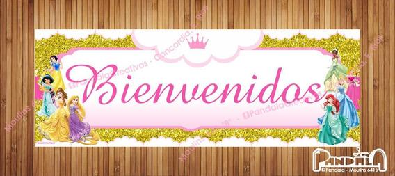 Princesas Glitter Dorado Cartel De Papel 90x32cm
