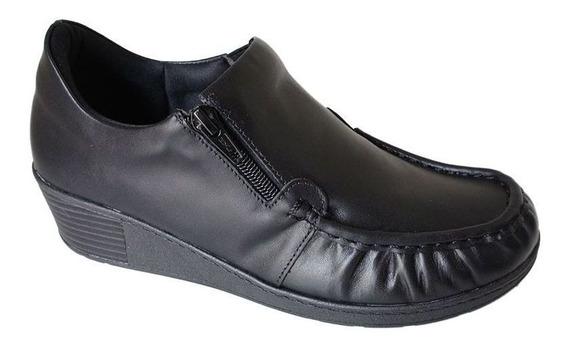 Sapato Usaflex Ziper Anatomico Couro Esporao - 5766 Preto