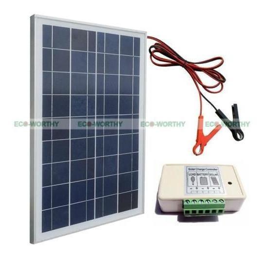 Kit De Panel Solar De 12v 25w Con Controlador & Pinzas -8378