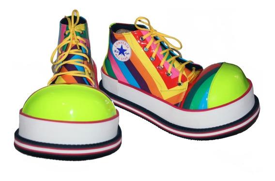 Zapatos De Payaso Profesional Amarillo / Multicolor