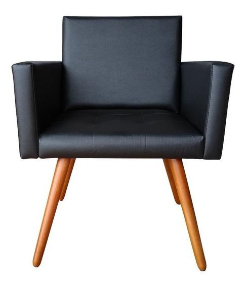 Poltrona Cadeira Vitória Courino Preto P/ Consultório Sala