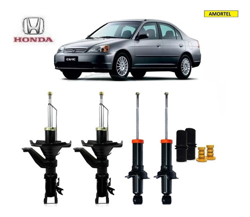4 Amortecedores + Kits Batentes Do Honda Civic Ano 01/02