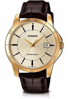 Relógio Masculino Casio Couro Marrom Visor Champanhe E Data