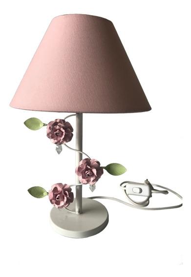 Abajur Branco Flor Rosa Quarto Bebê Infantil Menina