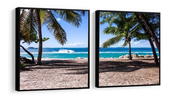 Quadro Decorativo Praia Mar Coqueiros Novo Paisagem Sala