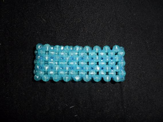 Pulseira Bracelete Em Cristal Acrílico Azul Claro