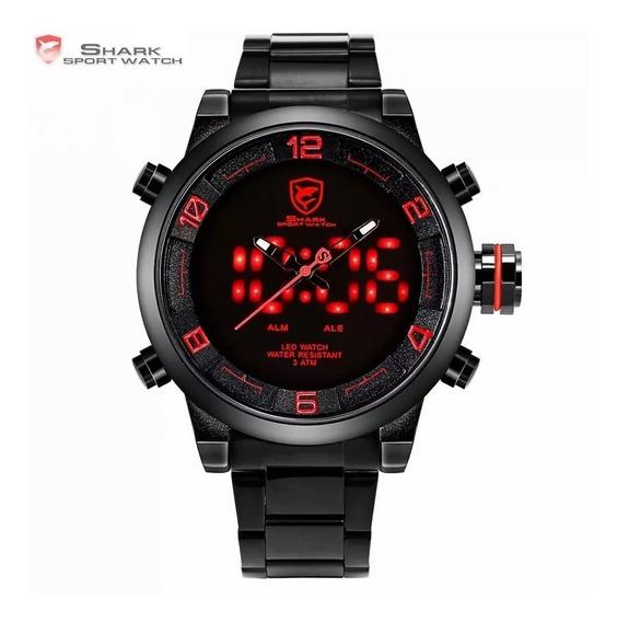 Relógio Esportivo Digital Led Shark Pulseira Em Aço Sh360