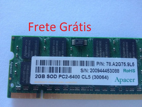 Memoria Notebook Ddr2 2gb 800mhz Pc2-6400 Apacer Frete Gráti