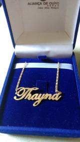 Gargantilha Com Nome Thayna Em Ouro 18k