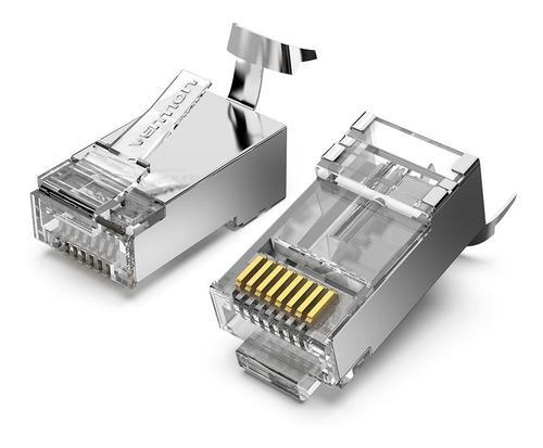 Ficha Red Plug Rj45 Cat7 Modular Blindada Metal X10 Vention