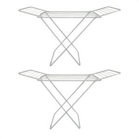 Kit 2 Varal De Chão Aço Com Abas Dobrável Slim 1,40m Maxeb