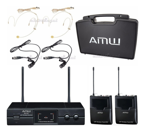 Microfone Sem Fio Duplo Uhf Lapela + Auricular Amw Bu18 Loja