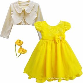 Vestido Festa Infantil Minnions Magali E Bela Bolero E Tiara