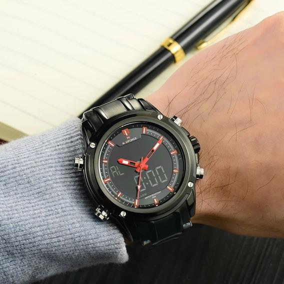 Relógio Naviforce Original Aço Inox Nf9050 Á Prova D
