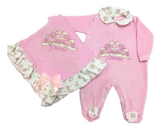 Kit Saída Maternidade Bebê Menina Coroa Rosa Em Plush Frio