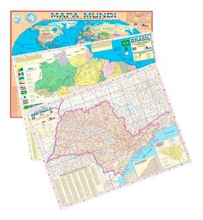 Kit 3 Mapas Mundi Brasil E Estado São Paulo Atualizados