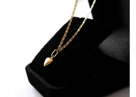 Correntinha De Ouro 18 K Piastrine C/ Ping Coração