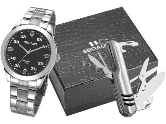 Kit Relógio Seculus Masculino + Canivete 28976g0svna1kz