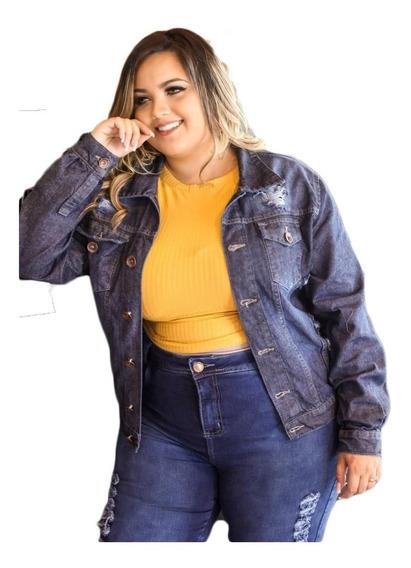 Jaqueta Plus Size Feminina Jeans Grande Outono 46 Ao 54